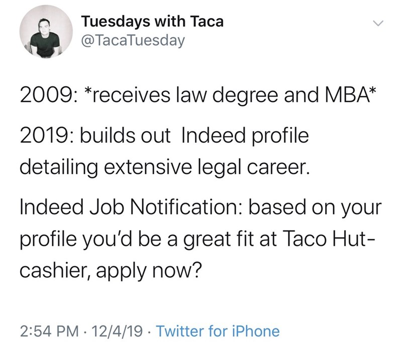 Funny Twitter meme about a person who received a law degree but isn't qualified for any job other than a fast food worker