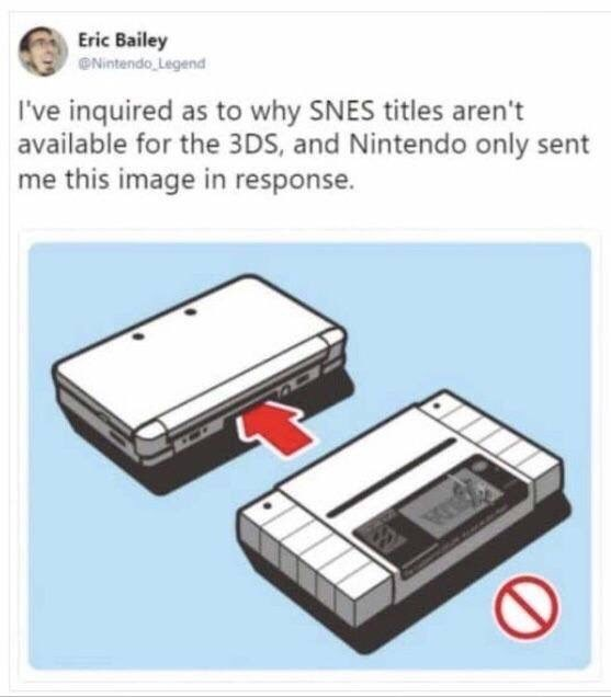 Product - Eric Bailey @Nintendo Legend I've inquired as to why SNES titles aren't available for the 3DS, and Nintendo only sent me this image in response.