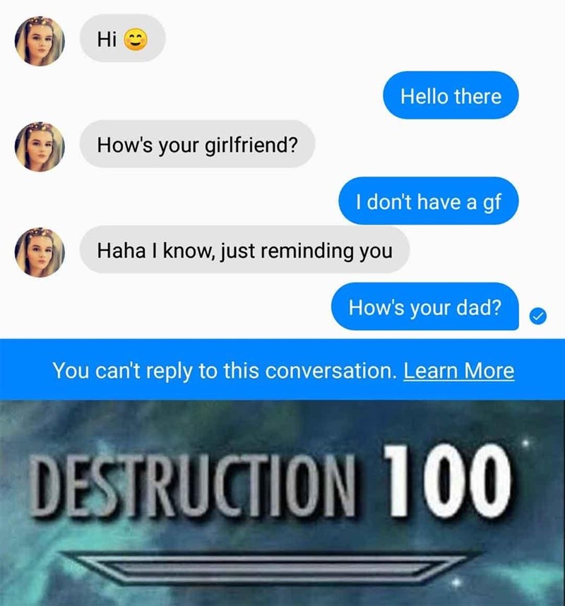 Text - Hi Hello there How's your girlfriend? I don't have a gf Haha I know, just reminding you How's your dad? You can't reply to this conversation. Learn More DESTRUCTION 100