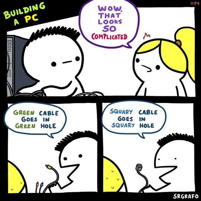 Cartoon - BUILDING A PC #94 WOw, THAT LOOKS SO COMPLICATED GREEN CABLE GOES IN GREEN HOLE SQUARY CABLE GOES IN SQUARY HOLE SRGRAFO 0000