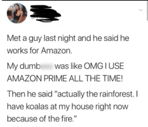 "Text - Met a guy last night and he said he works for Amazon. was like OMG IUSE My dumbi AMAZON PRIME ALL THE TIME! Then he said ""actually the rainforest. I have koalas at my house right now because of the fire."""