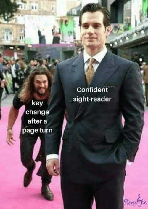 Suit - Confident sight-reader key change after a page turn StevieBe