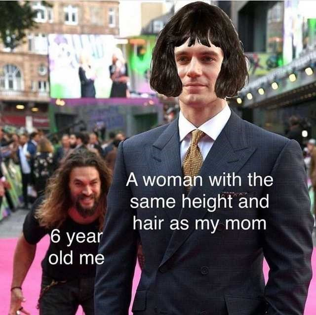 Suit - A woman with the same height and hair as my mom 6 year old me