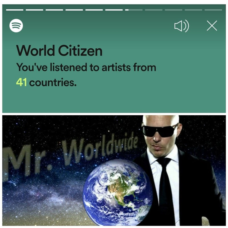 Text - World Citizen You've listened to artists from 41 countries. Mr. Worldwide