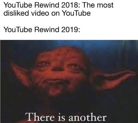 Text - YouTube Rewind 2018: The most disliked video on YouTube YouTube Rewind 2019: There is another