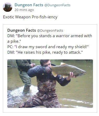 """Photo caption - Dungeon Facts @DungeonFacts 20 mins ago Exotic Weapon Pro-fish-iency Dungeon Facts @DungeonFacts DM: """"Before you stands a warrior armed with a pike."""" PC: """"I draw my sword and ready my shield!"""" DM: """"He raises his pike, ready to attack."""""""