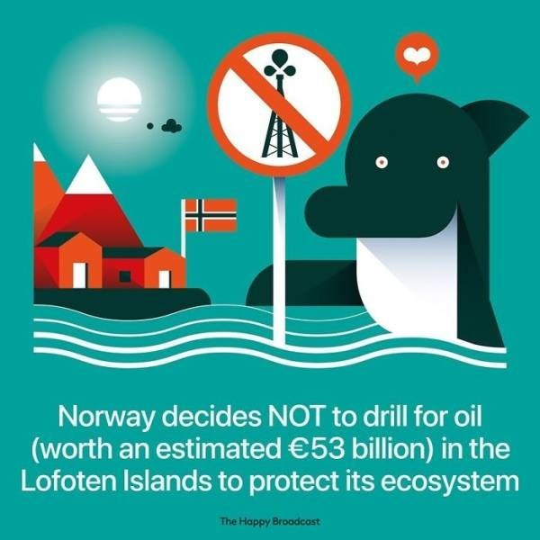 Illustration - Norway decides NOT to drill for oil (worth an estimated €53 billion) in the Lofoten Islands to protect its ecosystem The Happy Broadcast