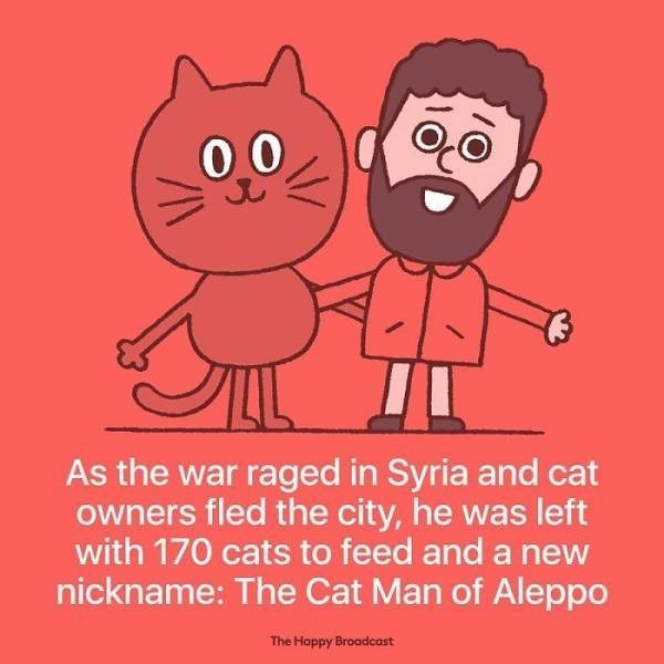 Cartoon - 00 As the war raged in Syria and cat owners fled the city, he was left with 170 cats to feed and a new nickname: The Cat Man of Aleppo The Hoppy Broadcast