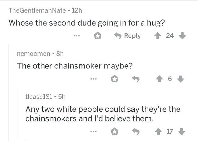 Text - TheGentlemanNate • 12h Whose the second dude going in for a hug? Reply 24 nemoomen • 8h The other chainsmoker maybe? tlease181 • 5h Any two white people could say they're the chainsmokers and l'd believe them. 17