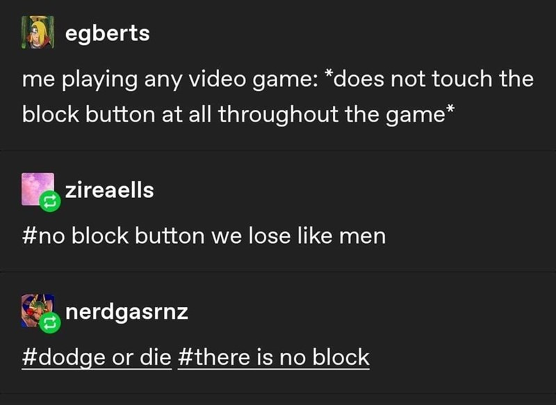 Text - egberts me playing any video game: *does not touch the block button at all throughout the game* zireaells #no block button we lose like men nerdgasrnz #dodge or die #there is no block