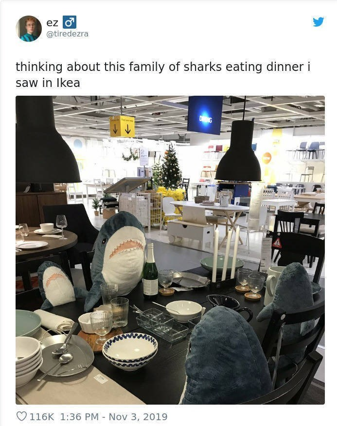 Brunch - ez o @tiredezra thinking about this family of sharks eating dinner i saw in Ikea DNG 116K 1:36 PM - Nov 3, 2019