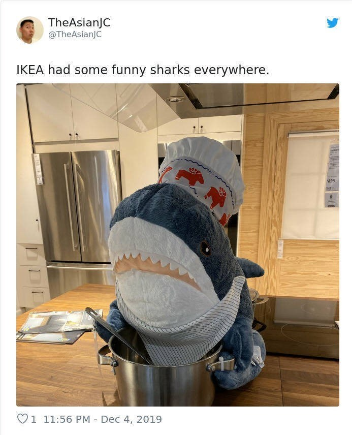 Helmet - TheAsianJC @TheAsianJC IKEA had some funny sharks everywhere. 899 O1 11:56 PM - Dec 4, 2019
