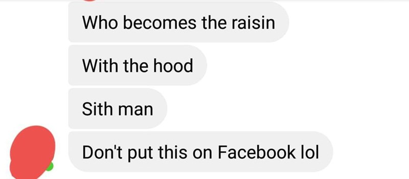 Text - Who becomes the raisin With the hood Sith man Don't put this on Facebook lol