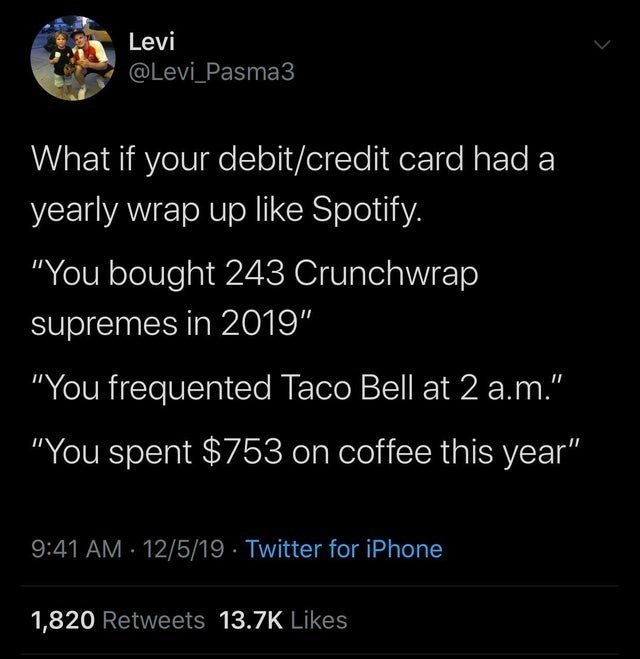 """Text - Levi @Levi_Pasma3 What if your debit/credit card had a yearly wrap up like Spotify. """"You bought 243 Crunchwrap supremes in 2019"""" """"You frequented Taco Bell at 2 a.m."""" """"You spent $753 on coffee this year"""" 9:41 AM - 12/5/19 · Twitter for iPhone 1,820 Retweets 13.7K Likes"""
