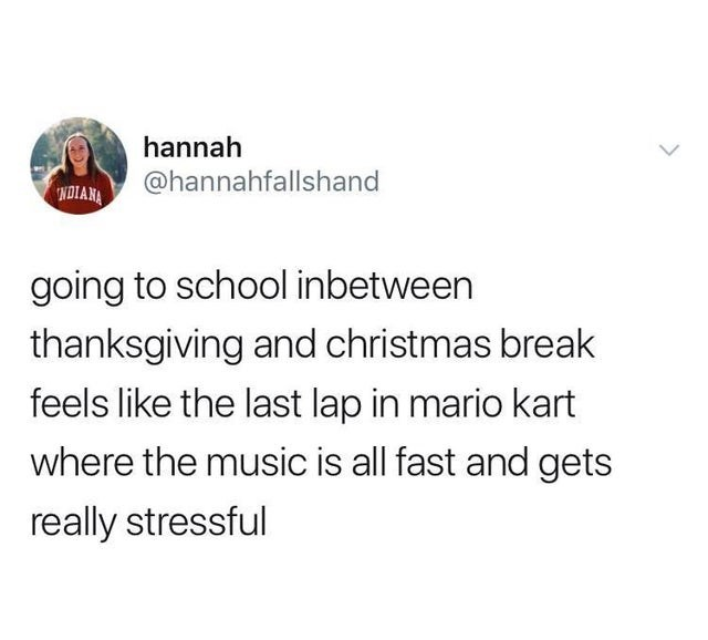Text - hannah @hannahfallshand NDIANA going to school inbetween thanksgiving and christmas break feels like the last lap in mario kart where the music is all fast and gets really stressful