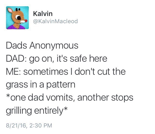 Text - Kalvin @KalvinMacleod Dads Anonymous DAD: go on, it's safe here ME: sometimes I don't cut the grass in a pattern *one dad vomits, another stops grilling entirely* 8/21/16, 2:30 PM