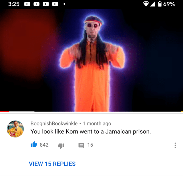 Screenshot - 1 69% 3:25 O O O O • BoognishBockwinkle • 1 month ago You look like Korn went to a Jamaican prison. It 842 15 VIEW 15 REPLIES