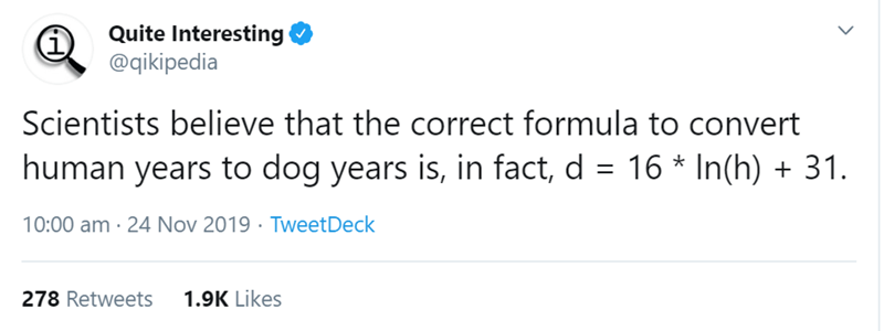 Text - Quite Interesting @qikipedia Scientists believe that the correct formula to convert human years to dog years is, in fact, d = 16 * In(h) + 31. 10:00 am · 24 Nov 2019 · TweetDeck 278 Retweets 1.9K Likes
