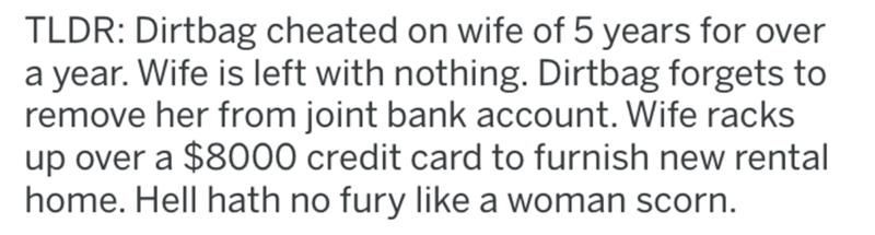 Text - TLDR: Dirtbag cheated on wife of 5 years for over a year. Wife is left with nothing. Dirtbag forgets to remove her from joint bank account. Wife racks up over a $8000 credit card to furnish new rental home. Hell hath no fury like a woman scorn.