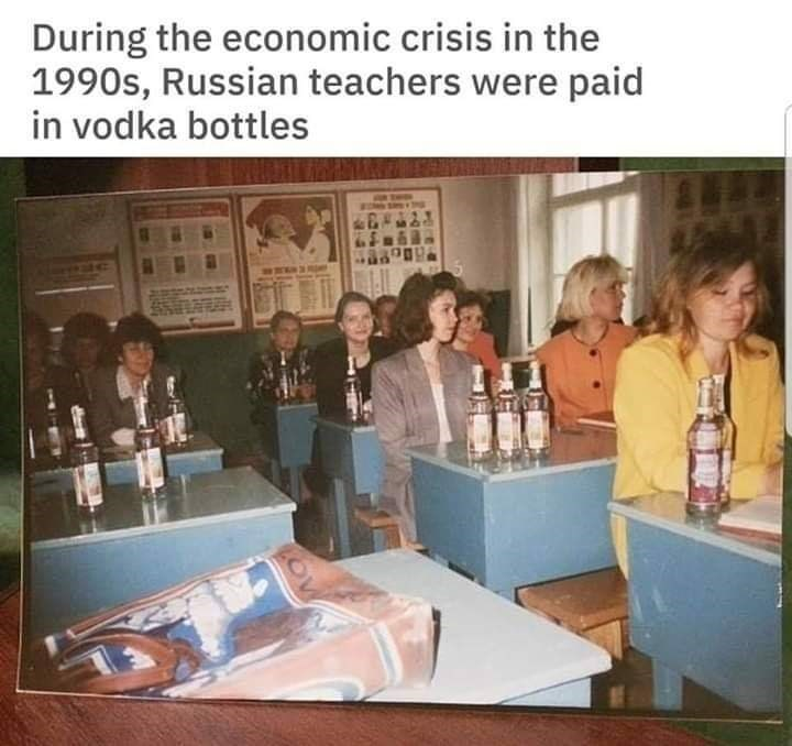Product - During the economic crisis in the 1990s, Russian teachers were paid in vodka bottles