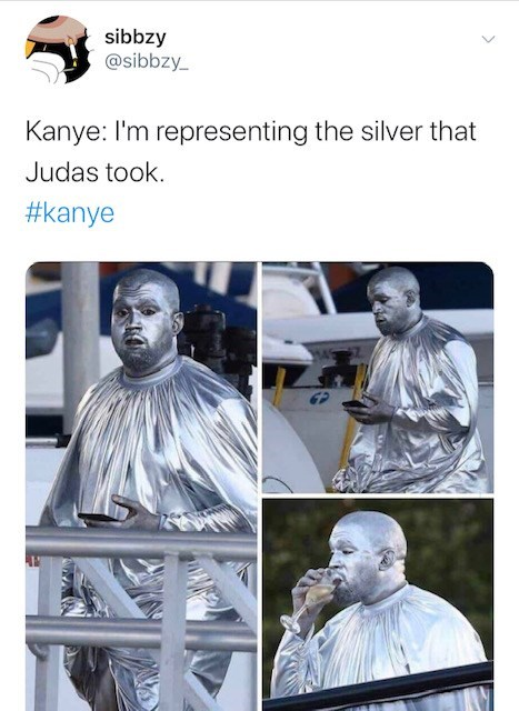 Statue - sibbzy @sibbzy_ Kanye: I'm representing the silver that Judas took. #kanye