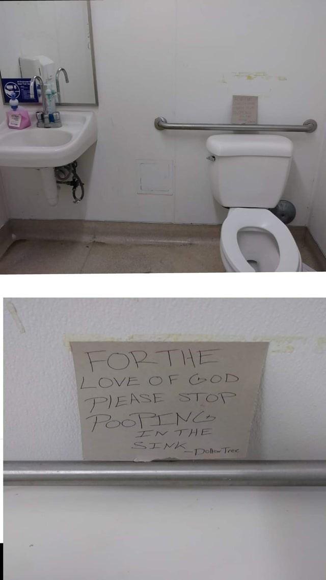 Bathroom - FORTHE LOVE OF GOD PIEASE STOP POOPINC INTHE SINK Dollew Tree