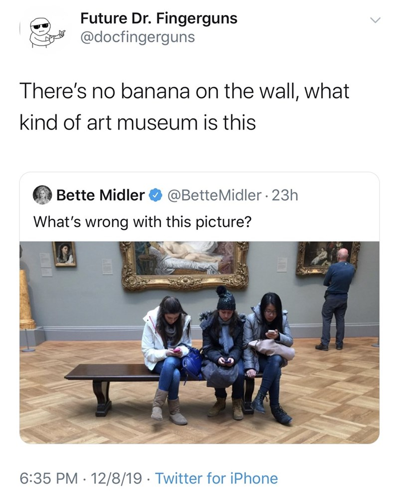Text - Future Dr. Fingerguns @docfingerguns There's no banana on the wall, what kind of art museum is this Bette Midler O @BetteMidler · 23h What's wrong with this picture? 6:35 PM · 12/8/19 · Twitter for iPhone
