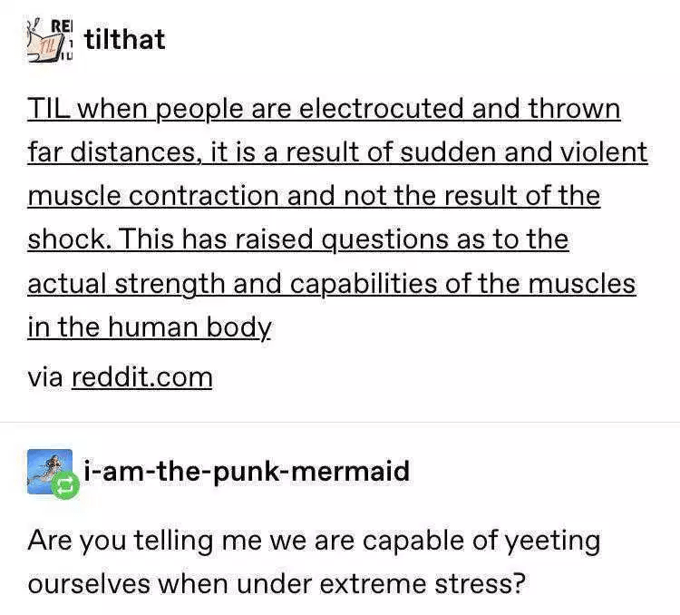 Text - REI tilthat TIL when people are electrocuted and thrown far distances, it is a result of sudden and violent muscle contraction and not the result of the shock. This has raised questions as to the actual strength and capabilities of the muscles in the human body via reddit.com i-am-the-punk-mermaid Are you telling me we are capable of yeeting ourselves when under extreme stress?