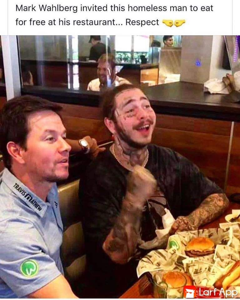 Meal - Mark Wahlberg invited this homeless man to eat for free at his restaurant... Respect TRAVIS MATHEW Larf App