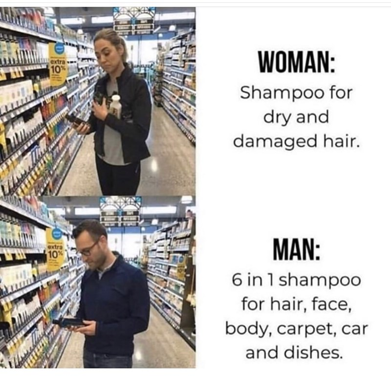 Product - WOMAN: Shampoo for dry and damaged hair. MAN: 6 in 1 shampoo for hair, face, body, carpet, car extra 10% and dishes.