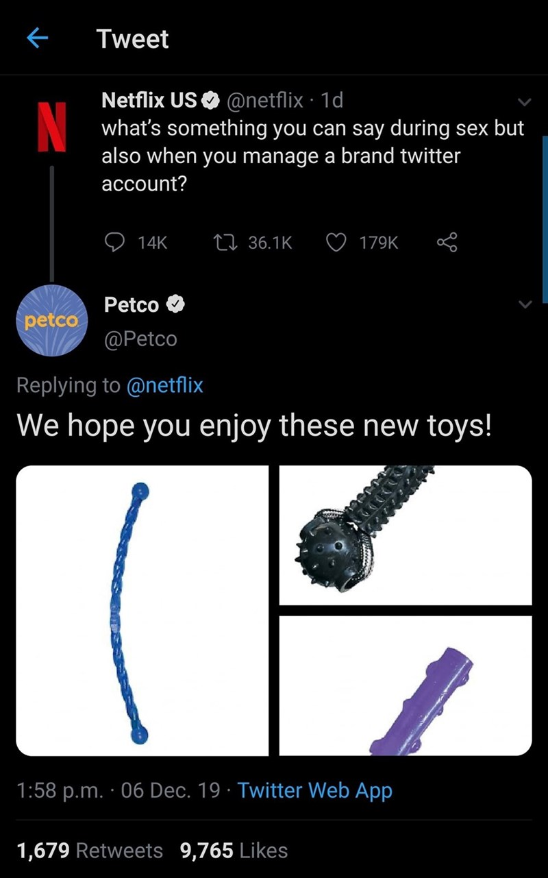 Text - Tweet Netflix US O @netflix · 1d N what's something you can say during sex but also when you manage a brand twitter account? 27 36.1K 14K 179K Petco petco @Petco Replying to @netflix We hope you enjoy these new toys! 1:58 p.m. · 06 Dec. 19 · Twitter Web App 1,679 Retweets 9,765 Likes