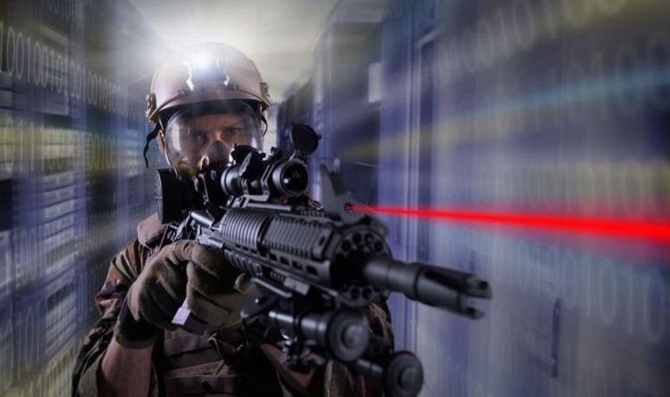 man holding machine gun in spacey light tunnel