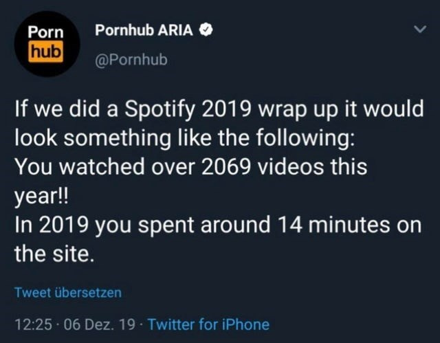 Text - Pornhub ARIA O Porn hub @Pornhub If we did a Spotify 2019 wrap up it would look something like the following: You watched over 2069 videos this year!! In 2019 you spent around 14 minutes on the site. Tweet übersetzen 12:25 · 06 Dez. 19 · Twitter for iPhone