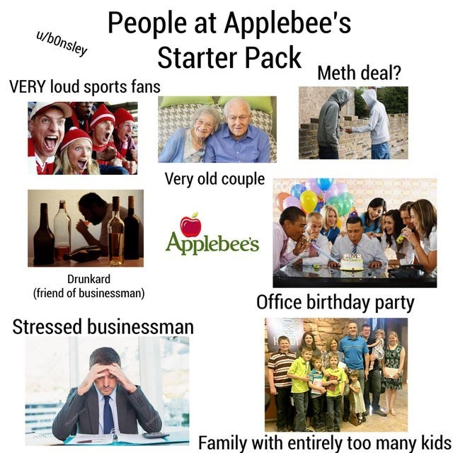 People - People at Applebee's Starter Pack u/b0nsley Meth deal? VERY loud sports fans Very old couple Applebee's Drunkard Office birthday party (friend of businessman) Stressed businessman Family with entirely too many kids