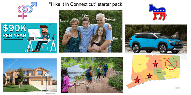 "Product - ""I like it in Connecticut"" starter pack Tyler George Laura $90K PER YEAR Emma"