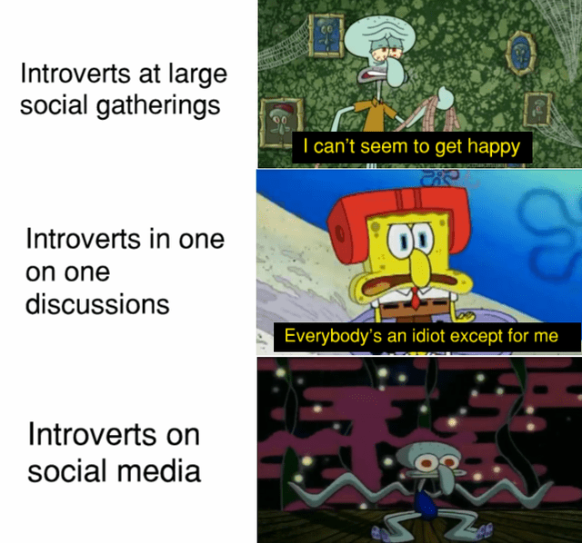 Cartoon - Introverts at large social gatherings I can't seem to get happy Introverts in one on one discussions Everybody's an idiot except for me Introverts on social media