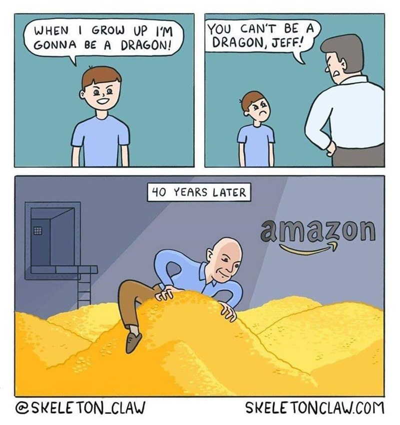 Cartoon - YOU CAN'T BE A DRAGON, JEFF! WHEN I GROW UP I'M GONNA BE A DRAGON! 40 YEARS LATER amazon @SKELE TON_CLAW SKELE TONCLAW.COM