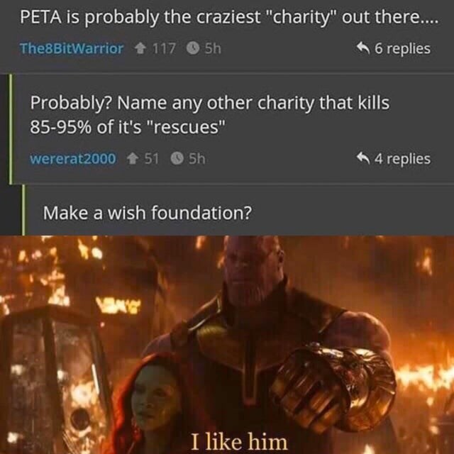 "Batman - PETA is probably the craziest ""charity"" out there.. 6 6 replies The8BitWarrior + 117 O 5h Probably? Name any other charity that kills 85-95% of it's ""rescues"" 6 4 replies wererat2000 51 5h Make a wish foundation? I like him"