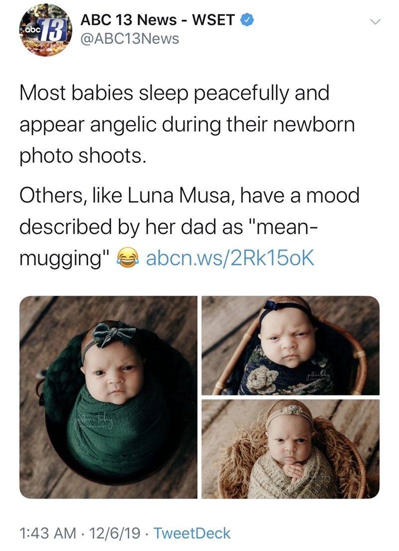 "Face - ABC 13 News - WSET @ABC13News 13 abc Most babies sleep peacefully and appear angelic during their newborn photo shoots. Others, like Luna Musa, have a mood described by her dad as ""mean- abcn.ws/2Rk15oK mugging"" 1:43 AM · 12/6/19 · TweetDeck"