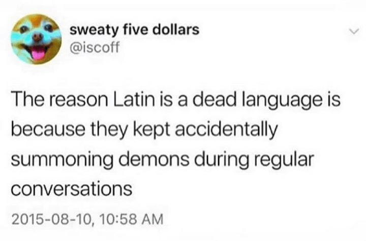 Text - sweaty five dollars @iscoff The reason Latin is a dead language is because they kept accidentally summoning demons during regular conversations 2015-08-10, 10:58 AM