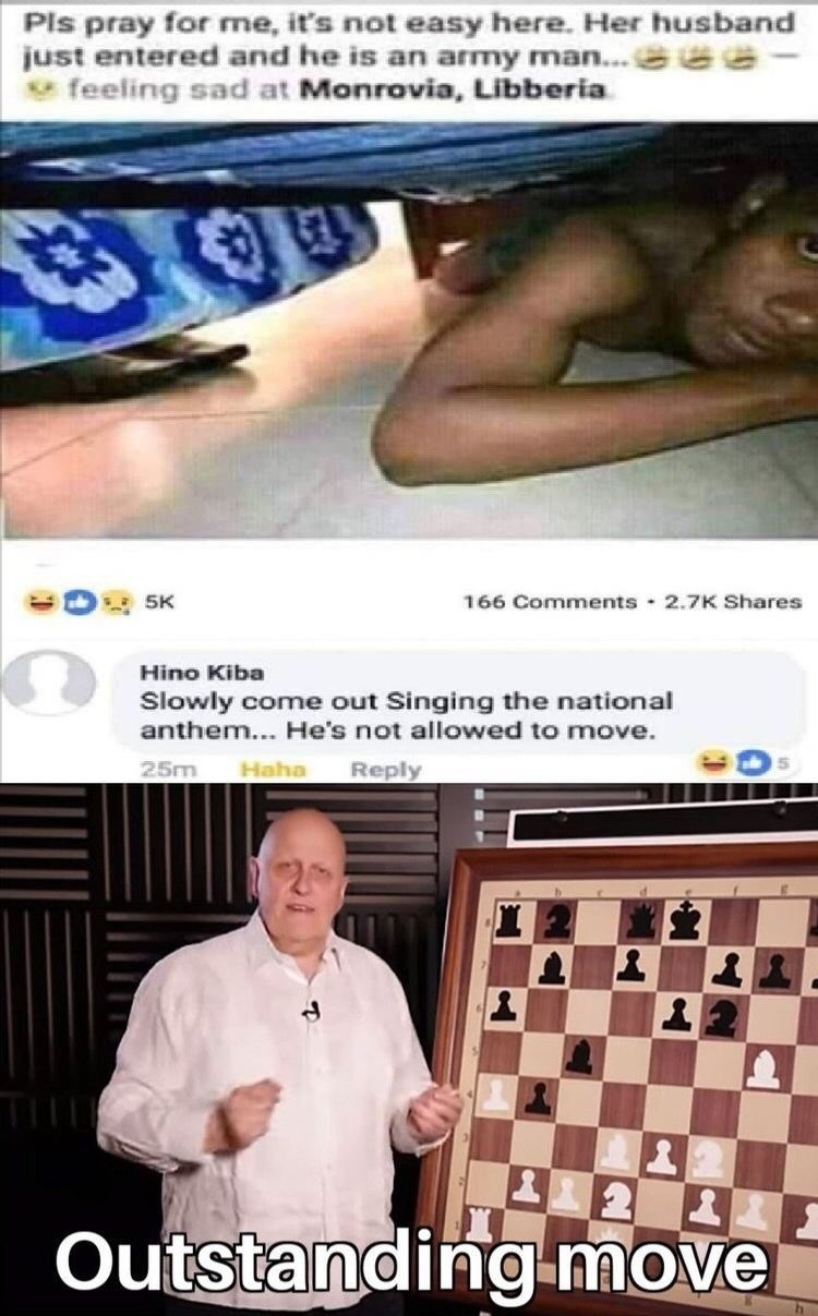 Games - Pls pray for me, it's not easy here. Her husband just entered and he is an army man... e feeling sad at Monrovia, Libberia 166 Comments 2.7K Shares 5K Hino Kiba Slowly come out Singing the national anthem... He's not allowed to move. Haha Reply 25m 20 Outstanding move