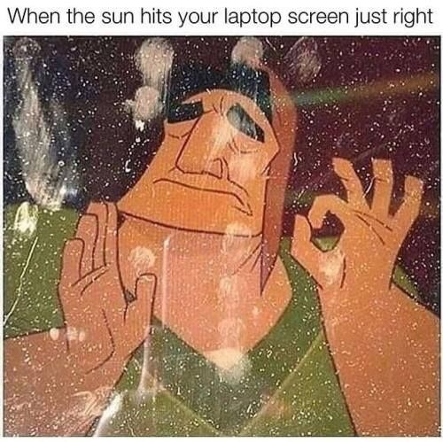 Cartoon - When the sun hits your laptop screen just right