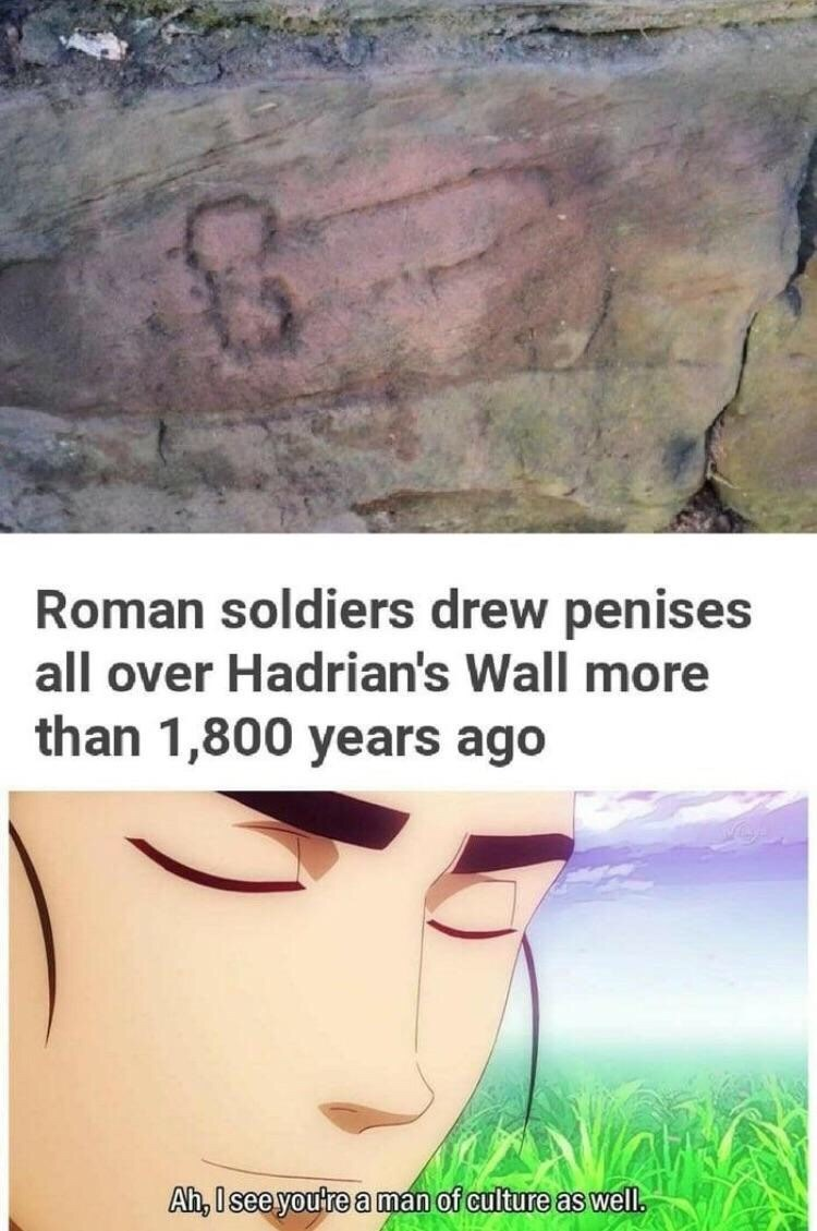 Face - Roman soldiers drew penises all over Hadrian's Wall more than 1,800 years ago Ah, I see youtre a man of culture as well.