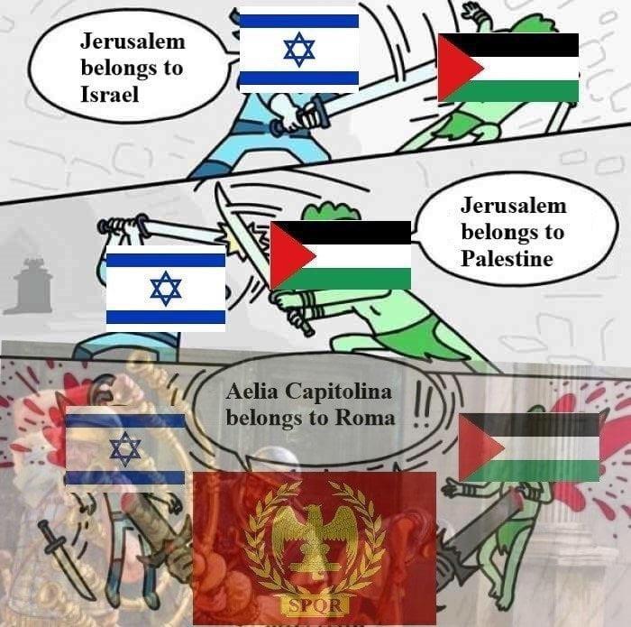 Cartoon - Jerusalem belongs to Israel Jerusalem belongs to Palestine Aelia Capitolina belongs to Roma SPOR