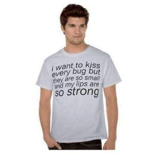 T-shirt - i want to kiss every bug but they are so small and my lips are So strong