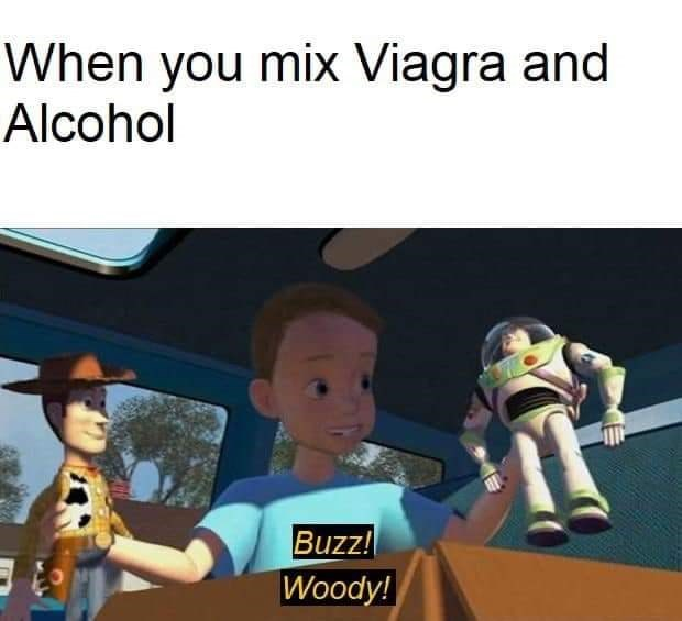 Cartoon - When you mix Viagra and Alcohol Buzz! Woody!