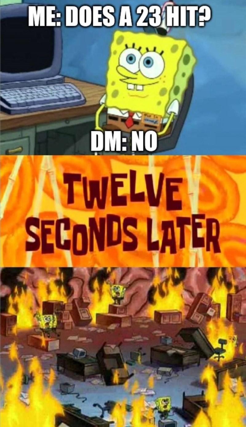 Cartoon - ME: DOES A 23 HIT? DM: NO TWELVE SECONDS LATER