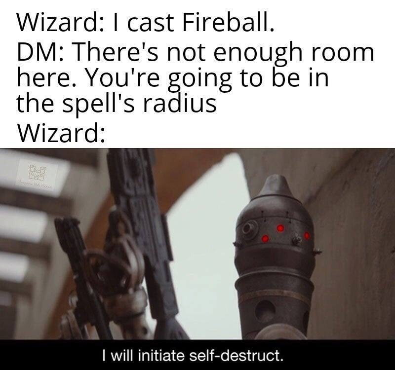 Photo caption - Wizard: I cast Fireball. DM: There's not enough room here. You're going to be in the spell's radius Wizard: I will initiate self-destruct.