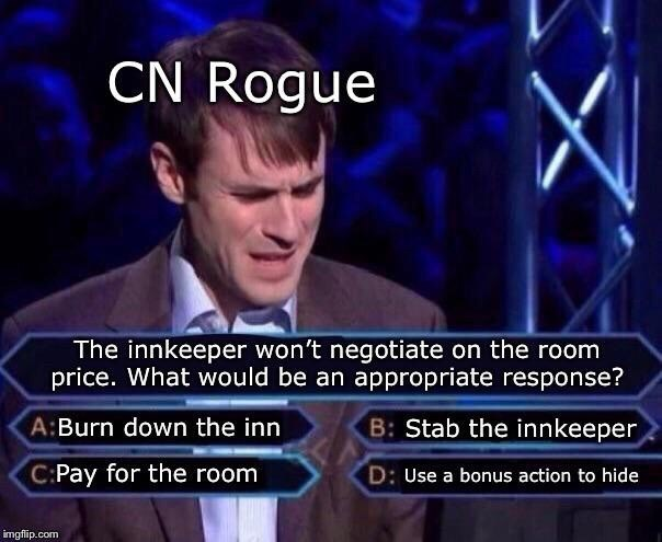 Photo caption - CN Rogue The innkeeper won't negotiate on the room price. What would be an appropriate response? B: Stab the innkeeper A:Burn down the inn C:Pay for the room D: Use a bonus action to hide imgflip.com