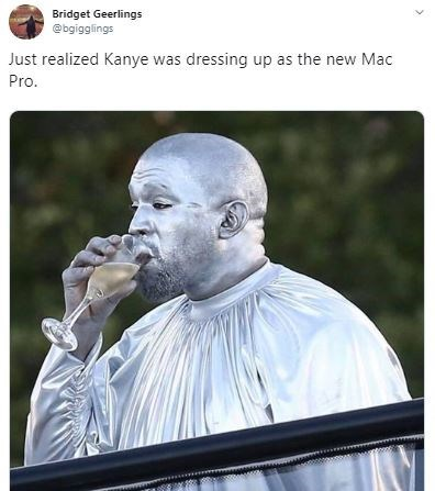 Photograph - Bridget Geerlings @bgigglings Just realized Kanye was dressing up as the new Mac Pro.